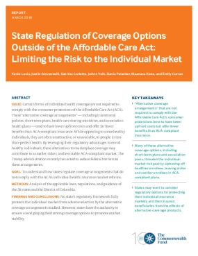 State Regulation of Coverage Options Outside of the Affordable Care Act: Limiting the Risk to the Individual Market