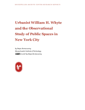 Urbanist William H. Whyte and the Observational Study of Public Spaces in New York City